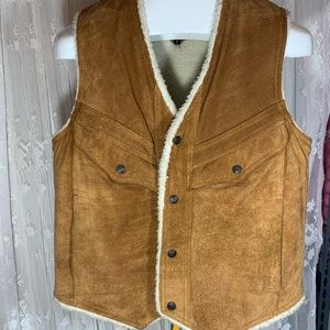Vintage Richman Brothers Suede Sherpa vest size 42